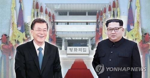 左为韩国总统文在寅,右为朝鲜国务委员会委员长金正恩。(韩联社)