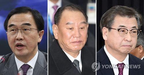 左起依次是赵明均、金英哲、徐熏。(韩联社)