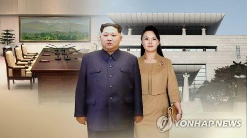 金正恩和夫人李雪主(韩联社)