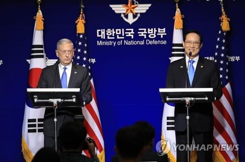 资料图片:韩国防长宋永武(右)和美国防长马蒂斯(韩联社)
