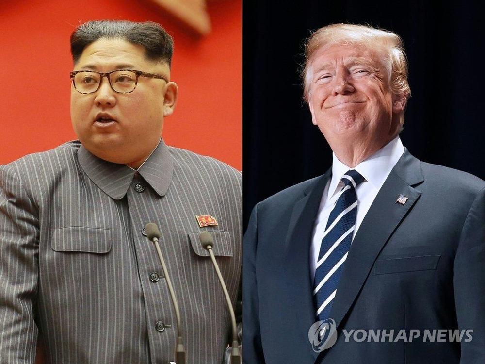 金正恩(左)和特朗普(韩联社)