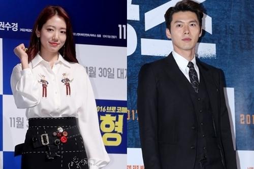 演员朴信惠(左)和玄彬(韩联社)