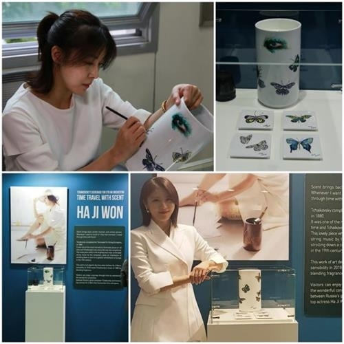 河智苑手绘白瓷亮相莫斯科韩流博览会