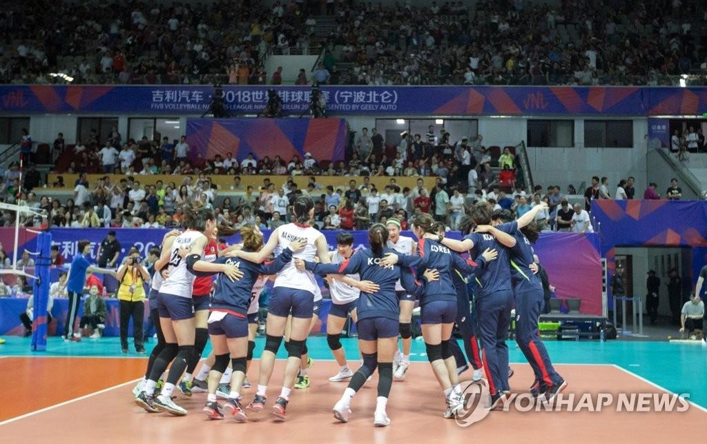 韩女排队凯旋而归 备战下周世排联赛第二周赛