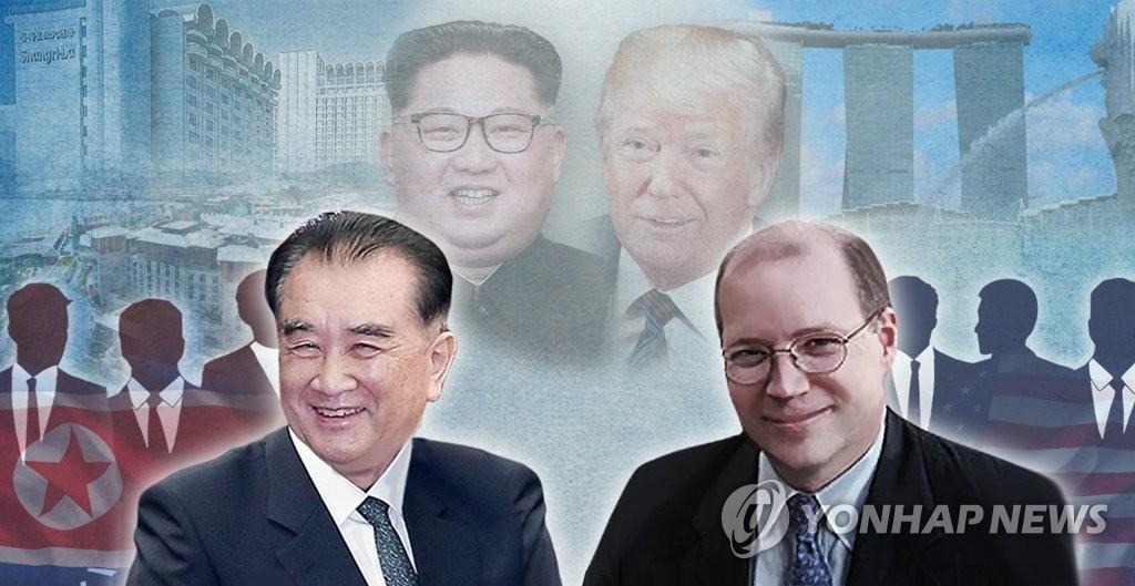 左为朝鲜国务委员会部长金昌善,右为美国白宫副幕僚长哈金。(韩联社)