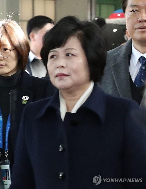 资料图片:统一战线部统战策略室长金圣惠(韩联社/联合采访团)