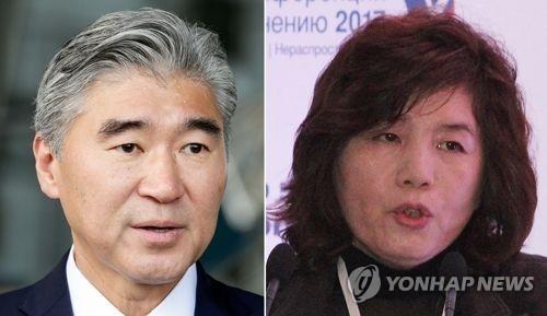 左为美国驻菲律宾大使金成,右为朝鲜外务省副相崔善姬(韩联社/欧新社)