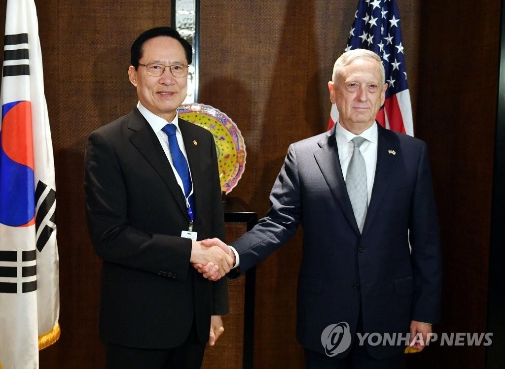 韩美防长会晤并商定积极支持朝美首脑会谈