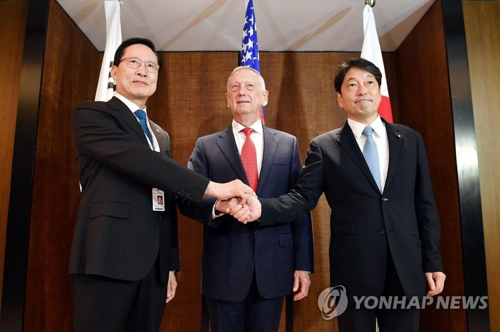 韩美日防长期待金特会推动半岛安全稳定