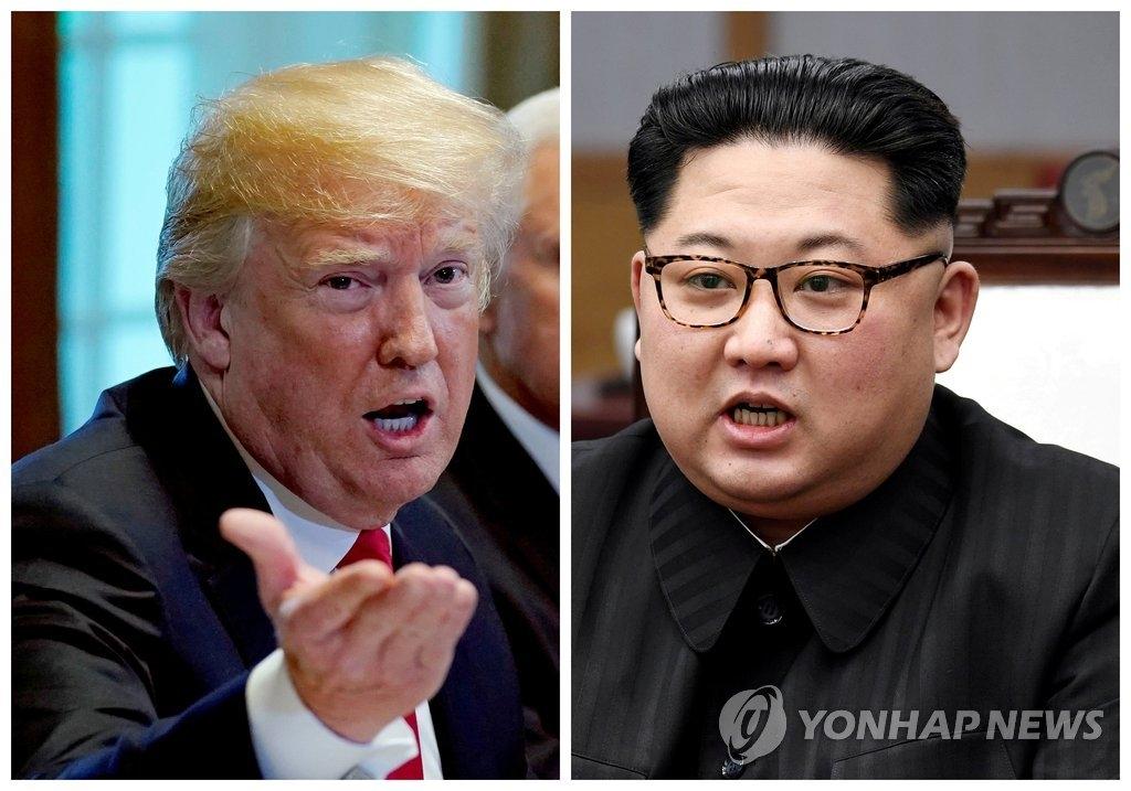 资料图片:金正恩(左)和特朗普(韩联社/路透社)