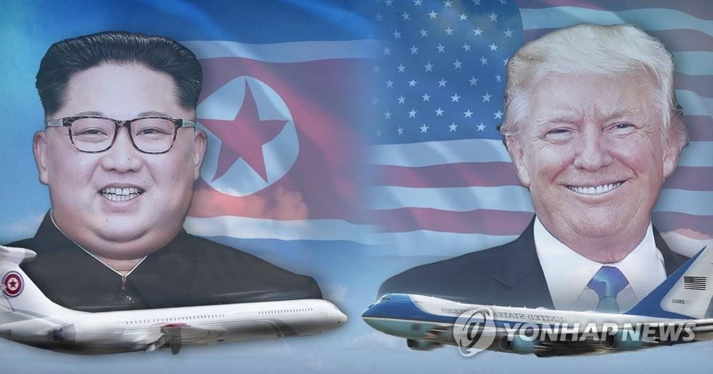 """资料图片:金正恩""""苍鹰一号""""(左)和特朗普""""空军一号""""(韩联社)"""