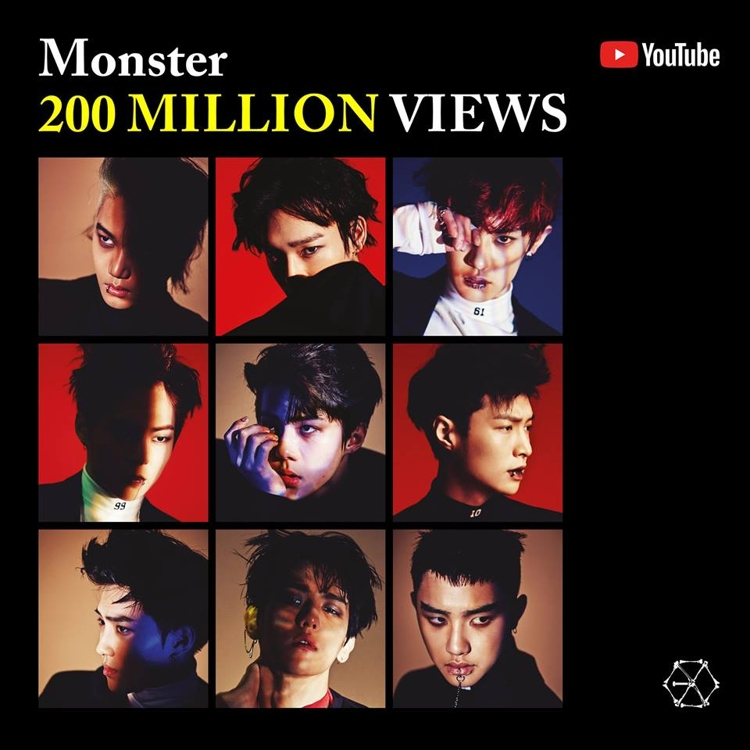 EXO《Monster》MV优兔播放量破2亿