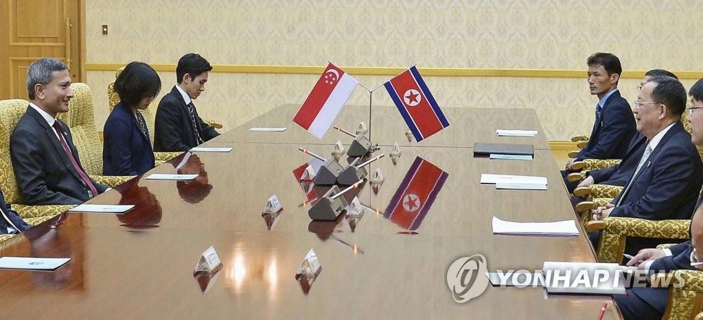 6月7日,在平壤,朝鲜外相李容浩(左一)同新加坡外长维文(右一)举行会谈。(韩联社)
