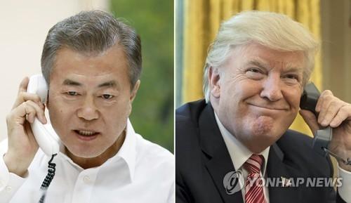 韩美领导人通电话沟通金特会结果