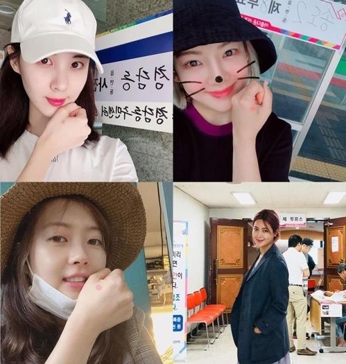 韩众星晒照呼吁选民参与地选投票