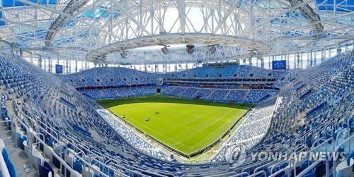 当地时间6月16日,俄罗斯的下诺夫哥罗德体育场虚位以待世界杯来客。韩国队18日将在此迎来本届世界杯的首场比赛。(韩联社)