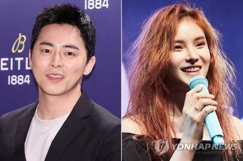 资料图片:演员赵正锡(左)和歌手Gummy(韩联社)