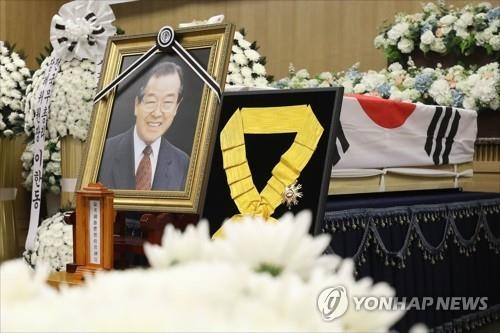 前国务总理金钟泌遗体告别仪式现场(韩联社)