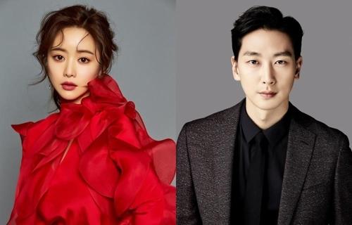 资料图片:演员洪秀儿(左)和沈智浩(韩联社/DreamT娱乐和Creative光提供)