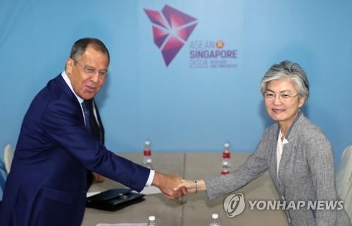 韩俄外长在新举行闭门会谈