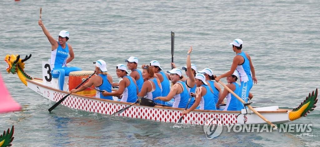 亚运女子龙舟500米朝韩联队摘金