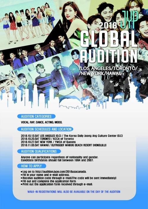 JYP娱乐2018全球选秀海报(JYP娱乐提供)
