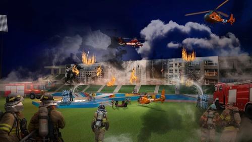 世界消防竞技大赛示意图(韩联社/世界消防竞技大赛促进团提供)