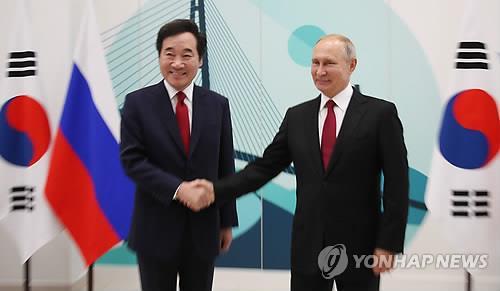 韩总理拜会普京商讨两国合作事宜
