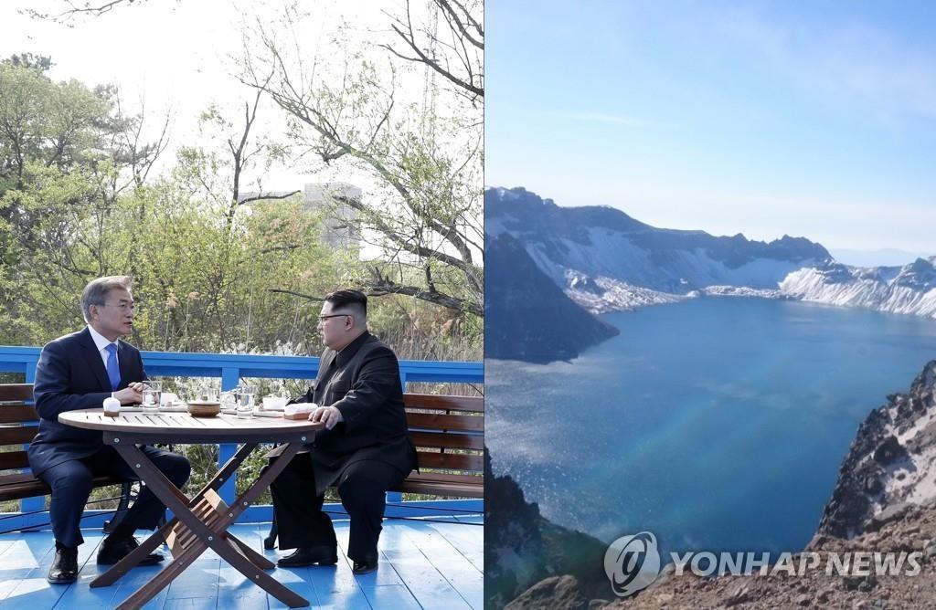 资料图片:左为今年首次文金会上,金正恩(右)和文在寅在人行桥上对坐谈话,右为天池。(韩联社)