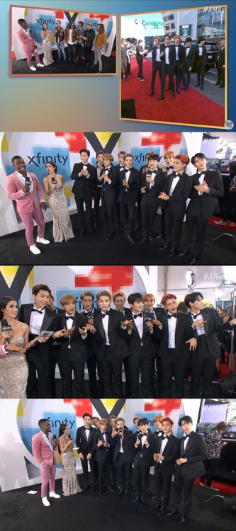 NCT127亮相2018全美音乐奖红毯礼的优兔视频截图。(韩联社/SM娱乐供图)