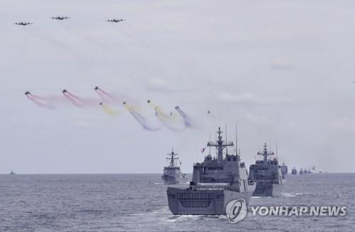 海上大阅兵彩排现场图片(韩联社)