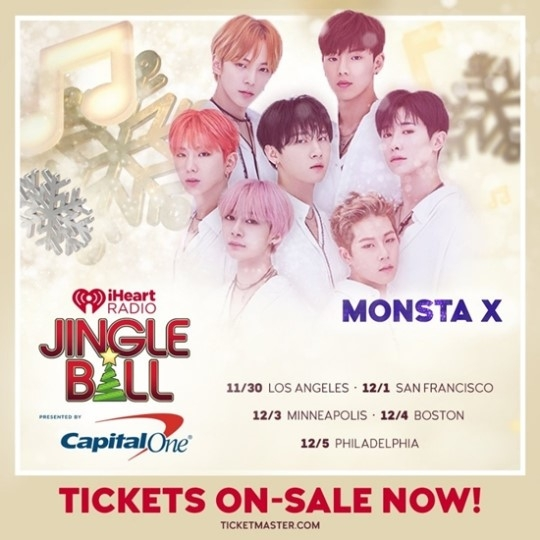 """Jingle Ball""巡演预告照(MONSTA X官方脸谱)"