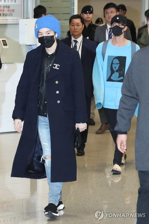 左一为BTS成员SUGA。(韩联社)
