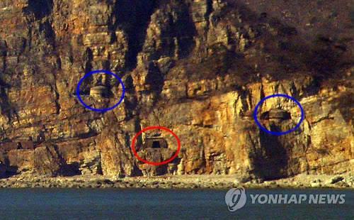 韩国白翎岛对岸朝鲜长山串海岸的炮台(韩联社)