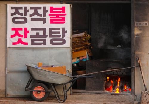 一锅松子牛骨肉汤在柴火土灶上精熬烂炖。(韩联社记者成演在摄)