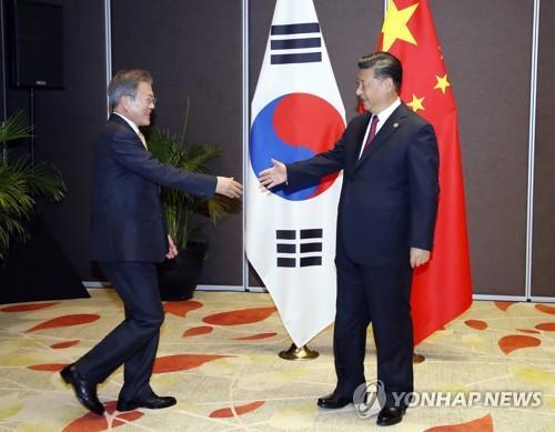 11月17日下午,在巴布亚新几内亚首都莫尔兹比港斯坦利酒店,韩国总统文在寅(左)同中国国家主席习近平举行会晤。(韩联社)