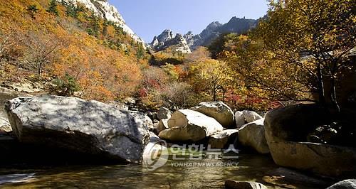 资料图片:朝鲜金刚山九龙渊景区(韩联社)