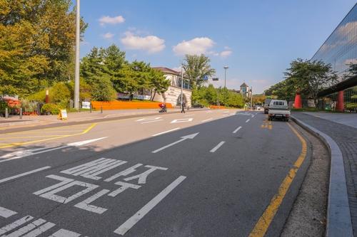 龙仁市一条公路路面施划的导向箭头后面写有白南准的名字。(韩联社记者成演在摄)