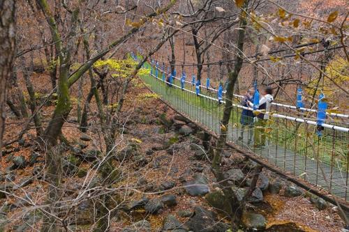 龙门寺索桥(韩联社记者成演在摄)