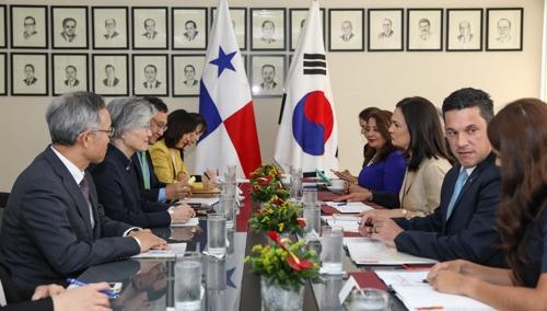 韩国巴拿马外长会谈现场(外交部供图)