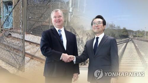 资料图片:右为韩国外交部韩半岛和平交涉本部长李度勋,左为美国国务院对朝政策特别代表比根。(韩联社)