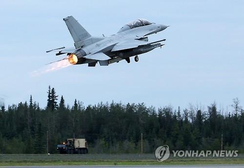 资料图片:韩国空军KF-16战机升空(韩联社)