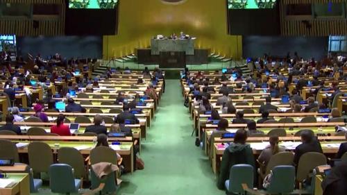 联大全会现场(联合国Web TV截图)