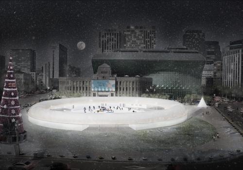首尔广场滑冰场鸟瞰图 (首尔市供图)