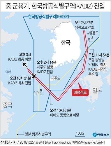 韩召见中国武官严正抗议军机三入防识区