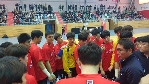 韩朝男子手球联队世锦赛首日对阵德国队