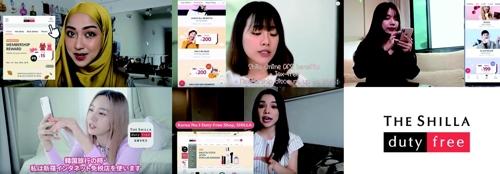 亚洲五国网红介绍韩妆的视频截图(韩联社/新罗免税店供图)