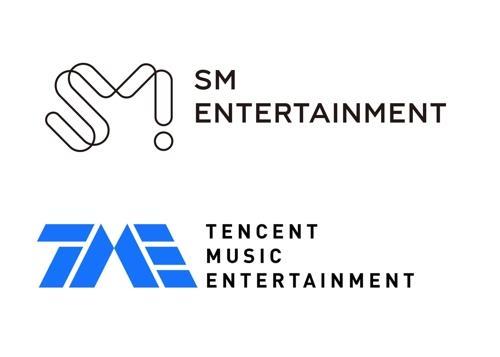 资料图片:SM娱乐(上)与腾讯音乐娱乐标志(SM娱乐供图)