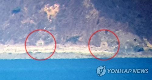 朝鲜海岸炮炮门紧闭(韩联社/韩国国会摄影记者团 )