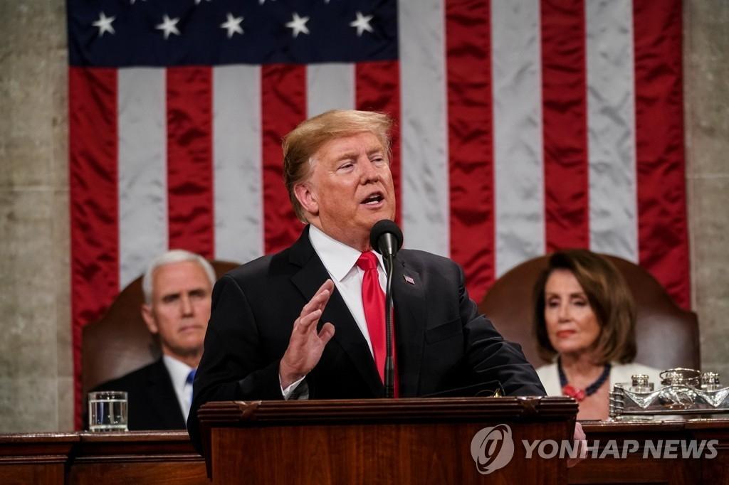2月5日,在位于华盛顿的美国国会,美国总统特朗普发表国情咨文。(韩联社/路透社)